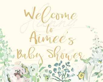 Baby Shower Welcome Sign - Floral Watercolor Painted