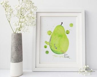 Printable: Pear Watercolor, Kitchen Art, Watercolor Print, Digital Download Print, Kitchen Print