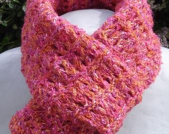 scarf was in openwork stitch pink and orange