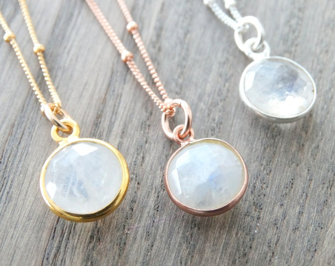 Featured listing image: Rainbow Moonstone Necklace  Moonstone Pendant Opal Necklace Rose Gold Moonstone Necklace Silver Necklace Moonstone jewelry