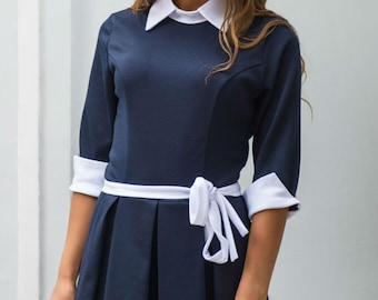 Dark blue and white party dress Peter Pan collar Contrast dress Jersey Everyday Spring dress Women's dress with belt