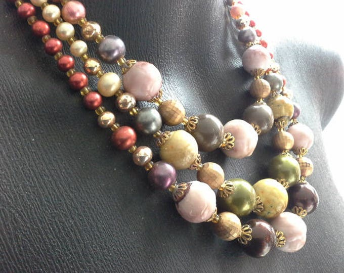 Vintage Triple Strand Simulated Pearls Glass Wood & Ceramic Bead Necklace c 1950's Multi Coloured Mauve Red Green Yellow Gold