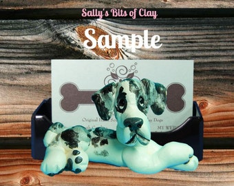 Merlequin Great Dane dog Natural Ears Business Card / Cell Phone Holder Original OOAK sculpture by Sally's Bits of Clay