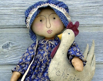CF188 A Chicken for Sarah - PDF ePattern Cloth Doll Pattern, Primitive, Chicken