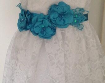 Varinia: Sash / Headband - Gorgeous Rich Turquoise BlueSatin Silk Tri-Flower Sash with glass beads
