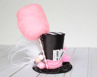 Cotton Candy Carnival Top Hat - Mini Top Hat Headband (or fascinator) - Perfect Circus Birthday Photo Prop