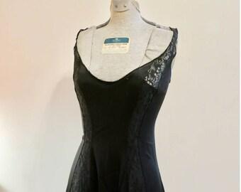 Black lace Gown nightgown sheer pinup 1960s vintage lingerie Vassarette 34 M
