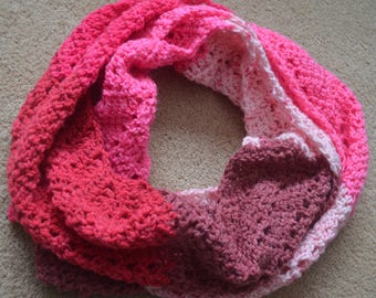 Pink Infinity Scarf, Pink Crochet Scarf, Infinity Scarf, Coral Scarf, Multi-colored Scarf, Pink Scarf
