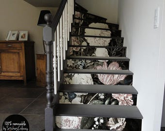 10 Step Stair Riser Decal, Washed Out Vintage Flowers Stair Sticker, Floral  Removable Stair