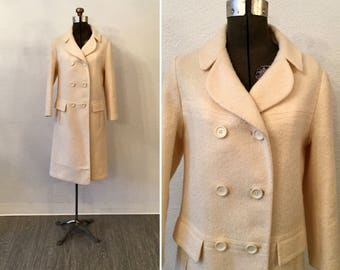 Blanca coat | Vintage winter white coat | 1960s double breasted wool boucle coat
