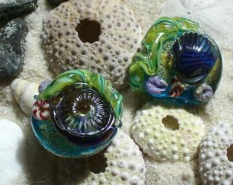 Lampwork SRA Glass Beads Handmade by Catalinaglass  Tidepool Focals