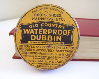 Vintage rustic yellow advertising tin - Old Country Waterproof Dubbin