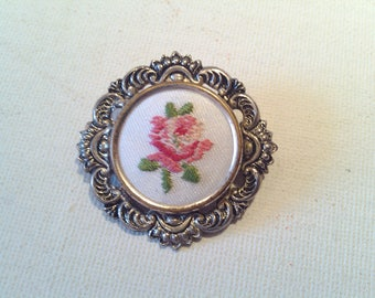 Brooch with Embroidery