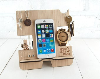 Personalised Docking Station - Multi item storage - Jewellery stand- Electronic Stand - Wooden Mobile Phone Stand - FREE personalisation