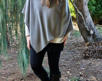 Cashmere Blend Poncho with Cowl Neck