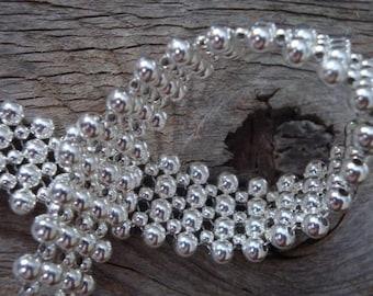 Breakfast at TIFFANY'S - Sterling Silver Flower Weave Cuff Bracelet - Handmade by Dorana