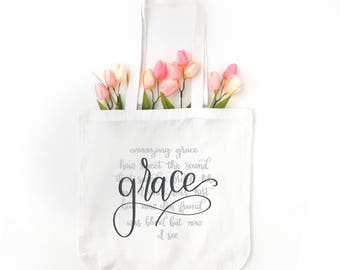 Grace Tote Bag | Amazing Grace White Canvas Tote Bag | Amazing Grace Tote Bags | Amazing Grace Tote Bags | Grace White Canvas Totes