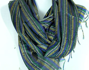 Striped Print Scarf (Green)
