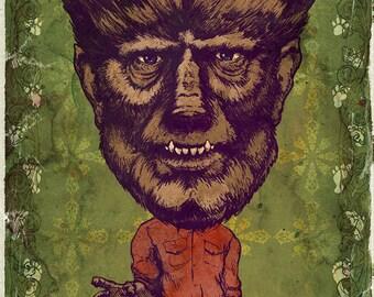 The Wolfman Lon Chaney Jr. MINI Art Print by award winning artist Brady Stoehr