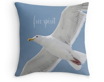 Bird Cushion, Seagull Cushion, Nature Photography, Inspirational Quote, Sea Gull Pillow, Beach Decor, Blue White Cushion, Bird Decor