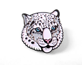 Snow Leopard Enamel Pin - Blue Glitter eyes - Black and White lapel pin