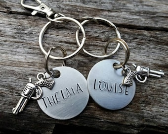 Set of Two Thelma & Louise - Handstamped Keychain - Best Friend Gift - Personalized Keychain - Custom - Hand Stamped  Keychain