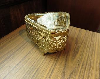 Vintage Hollywood Regency Glam Filigree Bevealed Glass Casket Jewelry Box