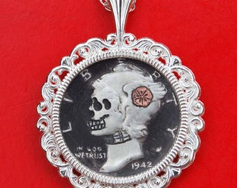 Carved Skull Face Zombie Copper Inlay Flower Hobo Nickel Style US 1942 Mercury Dime 90% Silver Coin Sterling Silver Necklace NEW