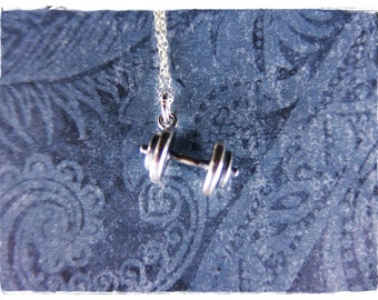 Silver Dumbbell Necklace - Sterling Silver Dumbbell Charm on a Delicate Sterling Silver Cable Chain or Charm Only