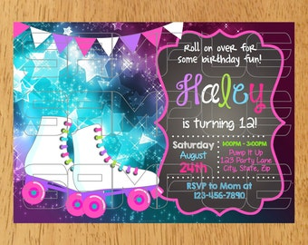 Roller Skating Invitation, Skating Invitation, Skating Birthday Invitation, Roller Skating Birthday Party Invitation