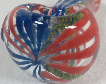 Red and Blue Ribbon pipe with Yellow and Blue Weave