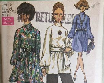 Vintage 70's Dress Pattern, 70s Tunic Dress Pattern, 70s Tunic Pattern, Simplicity 8439, Small, Long Sleeve, Bell Sleeves, Hippie, Boho