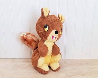 Vintage Stuffed Squirrel Gund Squirrel Plush Squirrel Woodland Nursery Mid Century Squirrel Toy Kitschy Squirrel Gund Stuffed Animal