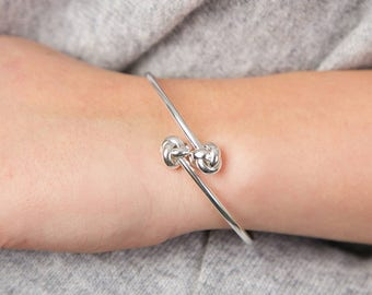 Silver Adjustable Double Love Knot Bangle