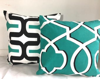 Set of two Pillow cases Decorative Pillow Black and white pillow Teal blue and white pillow 20x20, 18x18, 16X16, 14x14, 12x16, 12x12, 10x10