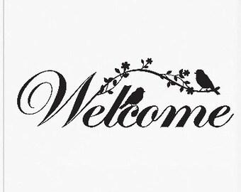 Welcome Door Vinyl Decal, Welcome Front Door Sticker, Welcome Door Decal, Welcome sticker, Vinyl Decal Door
