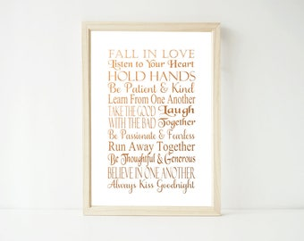 Real Foil Print - Fall in Love, Wedding Anniversary Prints, Home Decor Wall Art, Gold, Gopper, Silver