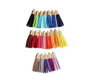 Mini Leather Tassels- Jewelry Tassel-Fringe Tassel-Suede Leather- Gold Cap Fringe Tassels
