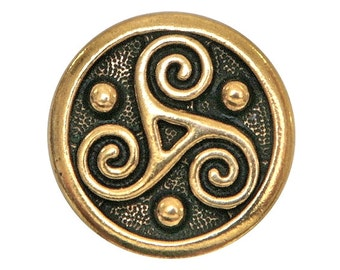 2 TierraCast Triskele 5/8 inch ( 16 mm ) Gold Plated Pewter Buttons