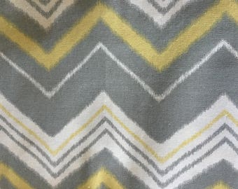 Mill Creek Fabrics Yellow Gray White Screen Printed Fabric / 2 Yards / Cotton Duck Type  Heavy Weight /