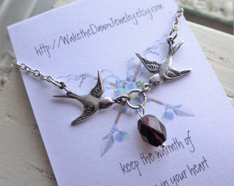 Silver Bird Necklace ~ Genuine Garnet ~ Antiqued Sterling Silver Plated ~ Bird Swallow - January Birthstone ~ by WakesTheDawn