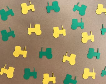 Green and Yellow Tractor Confetti - Farm Party Decorations - Farm Birthday Decor - Tractor Birthday Decor - Boy Birthday Decor - Green Decor