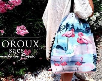 Beach bag, weekend bag, Shopping Bag, bag, travel, Flamingo, SacCabas