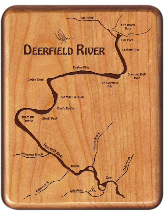Deerfield river map fly box handcrafted custom designed for Deerfield river fly fishing