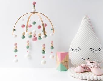 Mint and Pink Crib Mobile. Baby Girl Mobile. Baby Mobile. Baby Crib Mobile. Nursery Cot Mobile. Girls Felt Ball Mobile. Baby Pink Mint White
