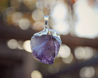 "Raw Amethyst Gemstone Necklace - Silver Plated on 18"" Sterling Silver Chain, Purple Stone Point Pendant"