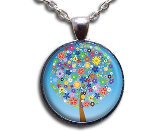 Blossoming Flowery Tree Glass Dome Pendant or with Chain Link Necklace NT121