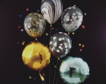 Bright and Shiny Party Balloons / NYE party decorations / confetti balloons / metallic balloons / gold and silver decorations