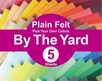 5 YARDS Plain Felt Fabric - pick your own colors (A1y)