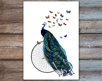 peacock art print, peacock on bicycle with butterflies, bird art, home decor